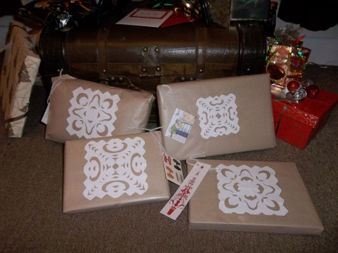 A few of my pressies wrapped and ready to go!